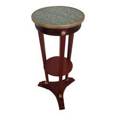 Mahogany Marble Top Green and White Pedestal