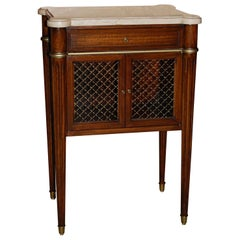 Mahogany Midcentury Marble-Top Night Table in Louis XVI Style by Maslow Freen