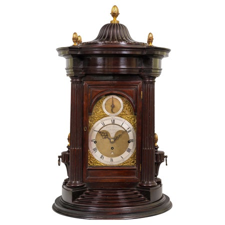 18th Century Antique Mahogany Musical Table Clock by Ralph Gout of London