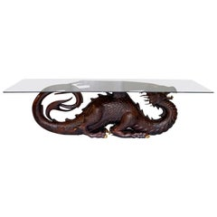 Mahogany Neil Busby Dragon 12 Person Dining Table Ruby Eyes 22-Carat Gold