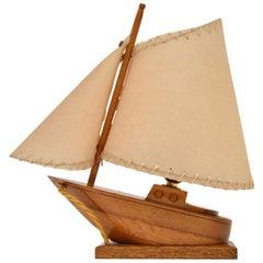 Mahogany & Oak Boat Table Lamp Vintage, 1960s