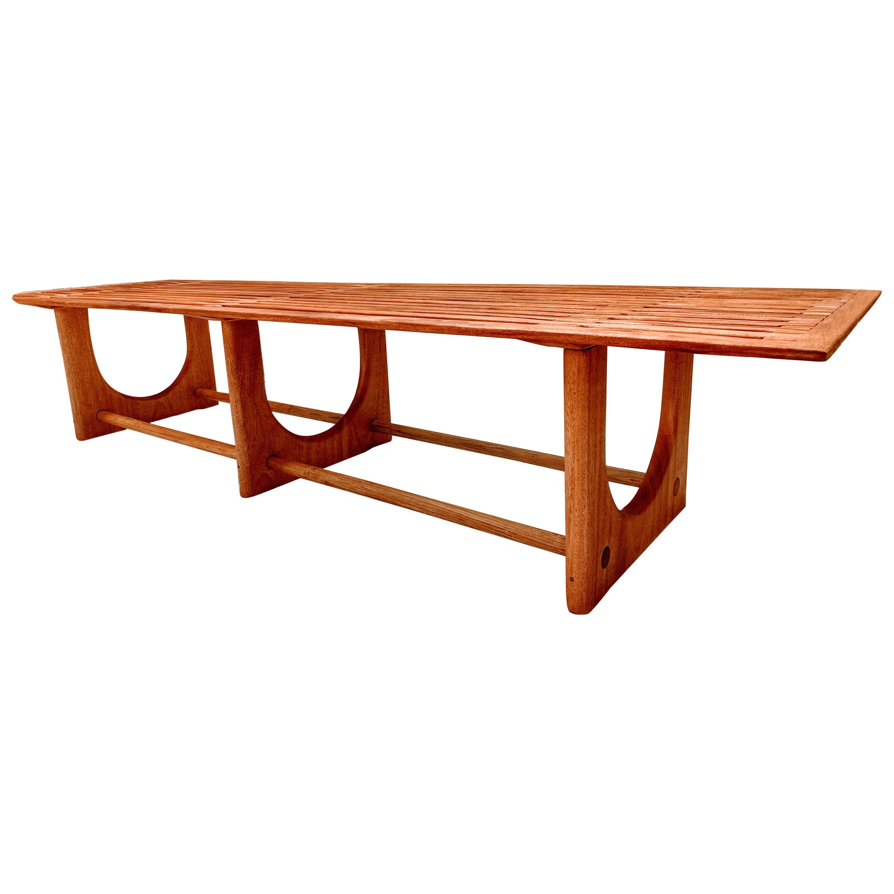 Mahogany Outdoor Coffee Table with Sculpted Base