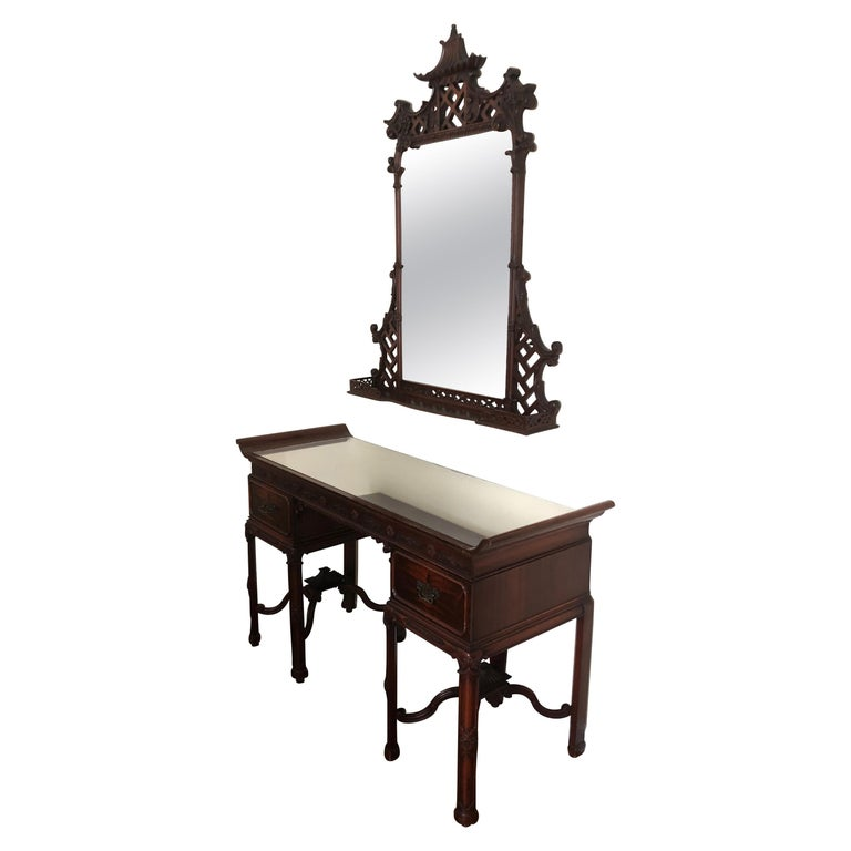 Mahogany Pagoda Style Vanity and Mirror with Asian Flair For Sale