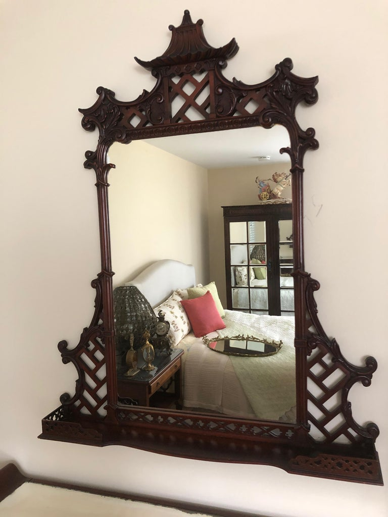 Mahogany Pagoda Style Vanity and Mirror with Asian Flair For Sale 5