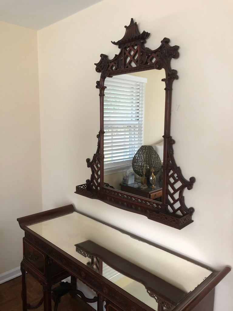 Mahogany Pagoda Style Vanity and Mirror with Asian Flair For Sale 6