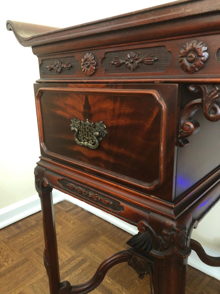 Mahogany Pagoda Style Vanity and Mirror with Asian Flair For Sale 1