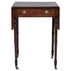 Mahogany Pembroke Table with Original Brass Casters
