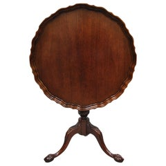 Mahogany Pie Crust Ball and Claw Georgian Chippendale Style Tilt Top Tea Table