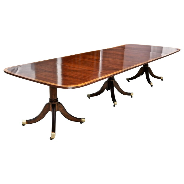 Mahogany Regency Style Three Pedestal Dining Table For