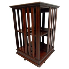 Mahogany Revolving Bookcase with Itarsia Inlay
