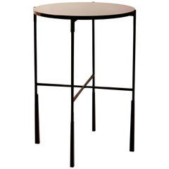 Mahogany Round Side Table with Sculptural Foot Structure