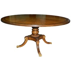 Mahogany Round Table with Greek Key Inlay on a Decorative Pedestal, 20th Century