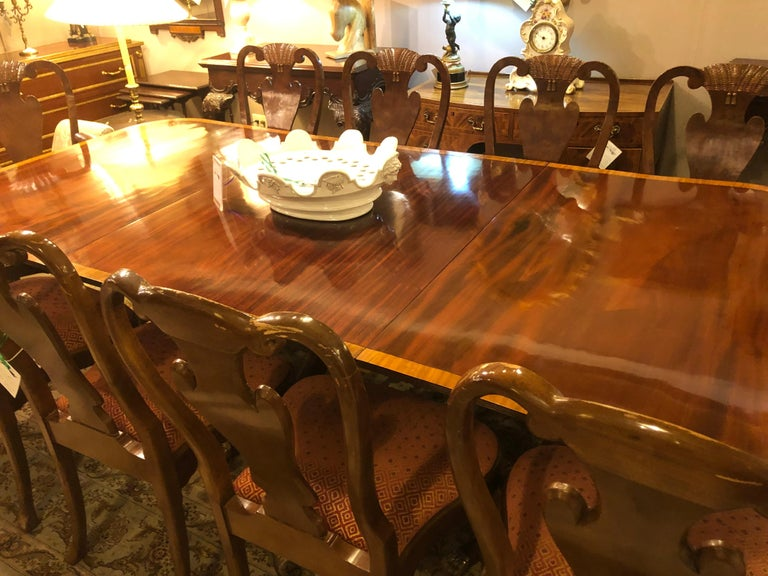 Mahogany Satinwood Banded Georgian Style Triple Pedestal Dining Table 13
