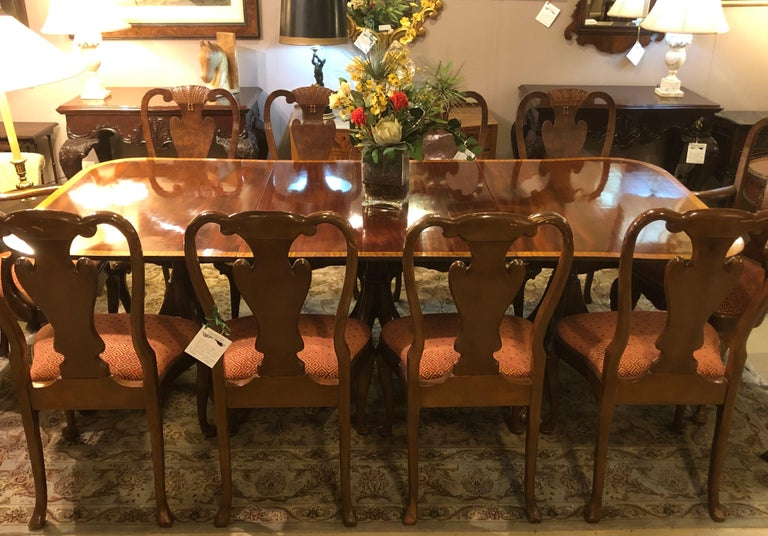 Mahogany Satinwood Banded Georgian Style Triple Pedestal Dining Table 2