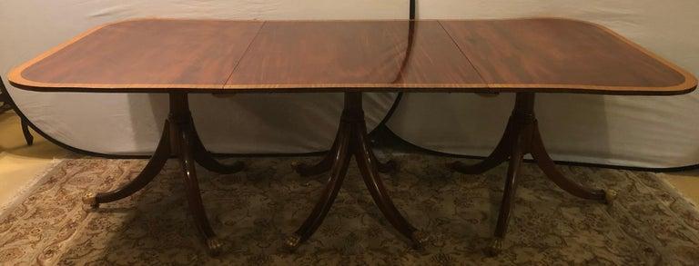 Mahogany Satinwood Banded Georgian Style Triple Pedestal Dining Table 4