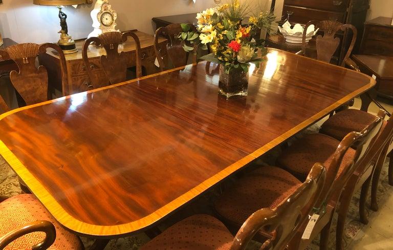 Mahogany Satinwood Banded Georgian Style Triple Pedestal Dining Table 5