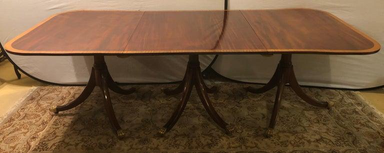 Mahogany Satinwood Banded Georgian Style Triple Pedestal Dining Table 6