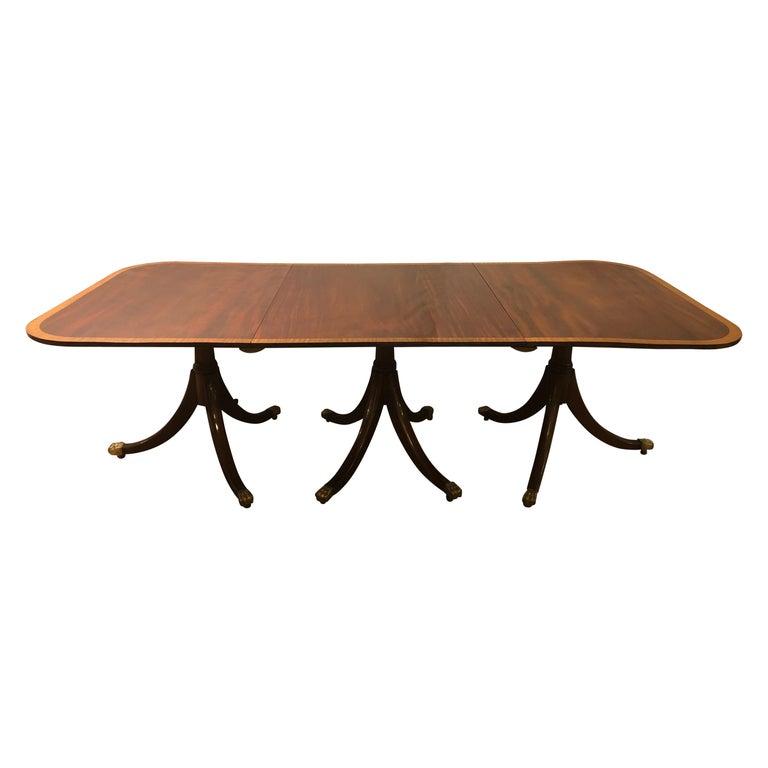 Mahogany Satinwood Banded Georgian Style Triple Pedestal Dining Table 1
