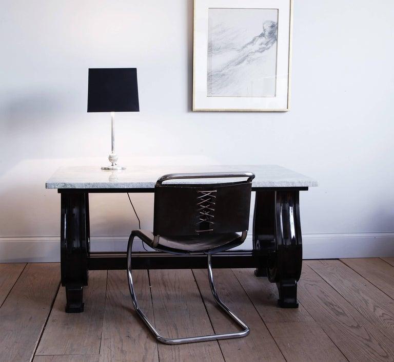Art Deco Mahogany Scroll-Base Table with Brazilian Quartz Top For Sale