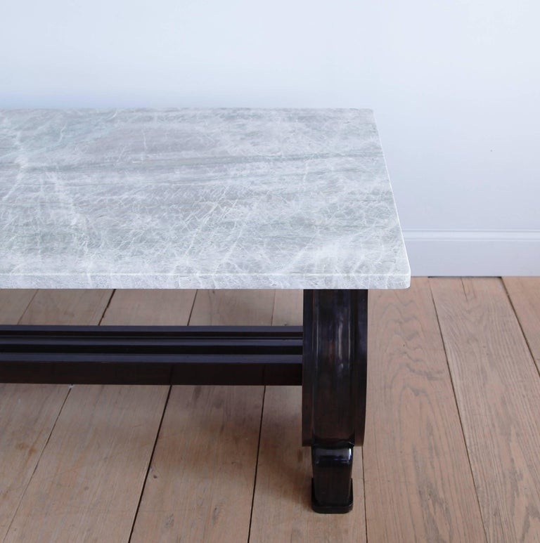 Mahogany Scroll-Base Table with Brazilian Quartz Top In Excellent Condition For Sale In New York, NY