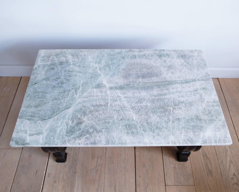 20th Century Mahogany Scroll-Base Table with Brazilian Quartz Top For Sale