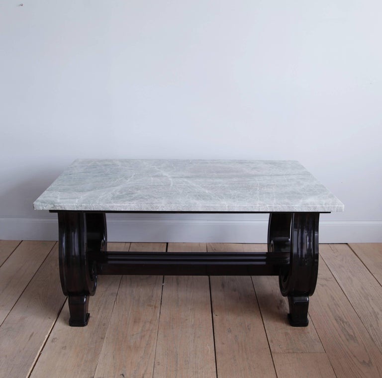 Mahogany Scroll-Base Table with Brazilian Quartz Top For Sale 1