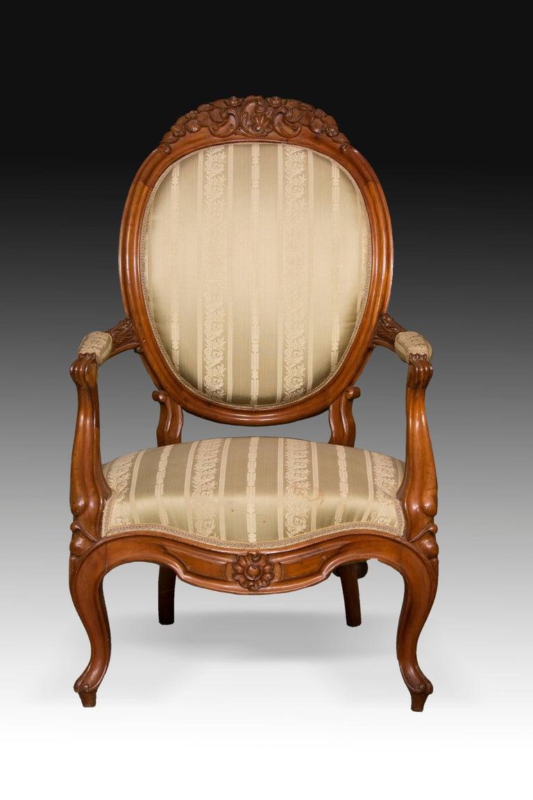 Spanish Mahogany Set, Elisabeth II Style, Spain, 19th Century For Sale
