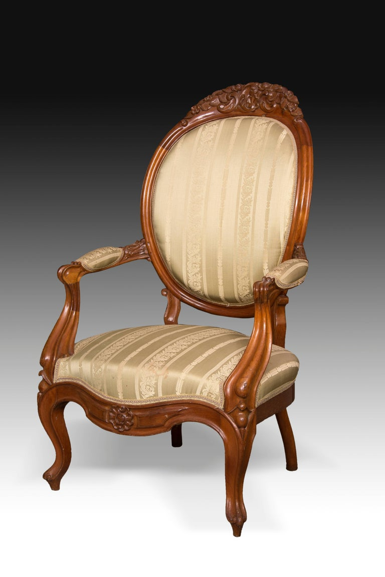 Mahogany Set, Elisabeth II Style, Spain, 19th Century In Excellent Condition For Sale In Madrid, ES
