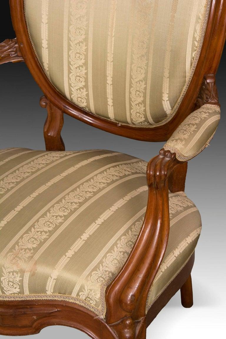Mahogany Set, Elisabeth II Style, Spain, 19th Century For Sale 1