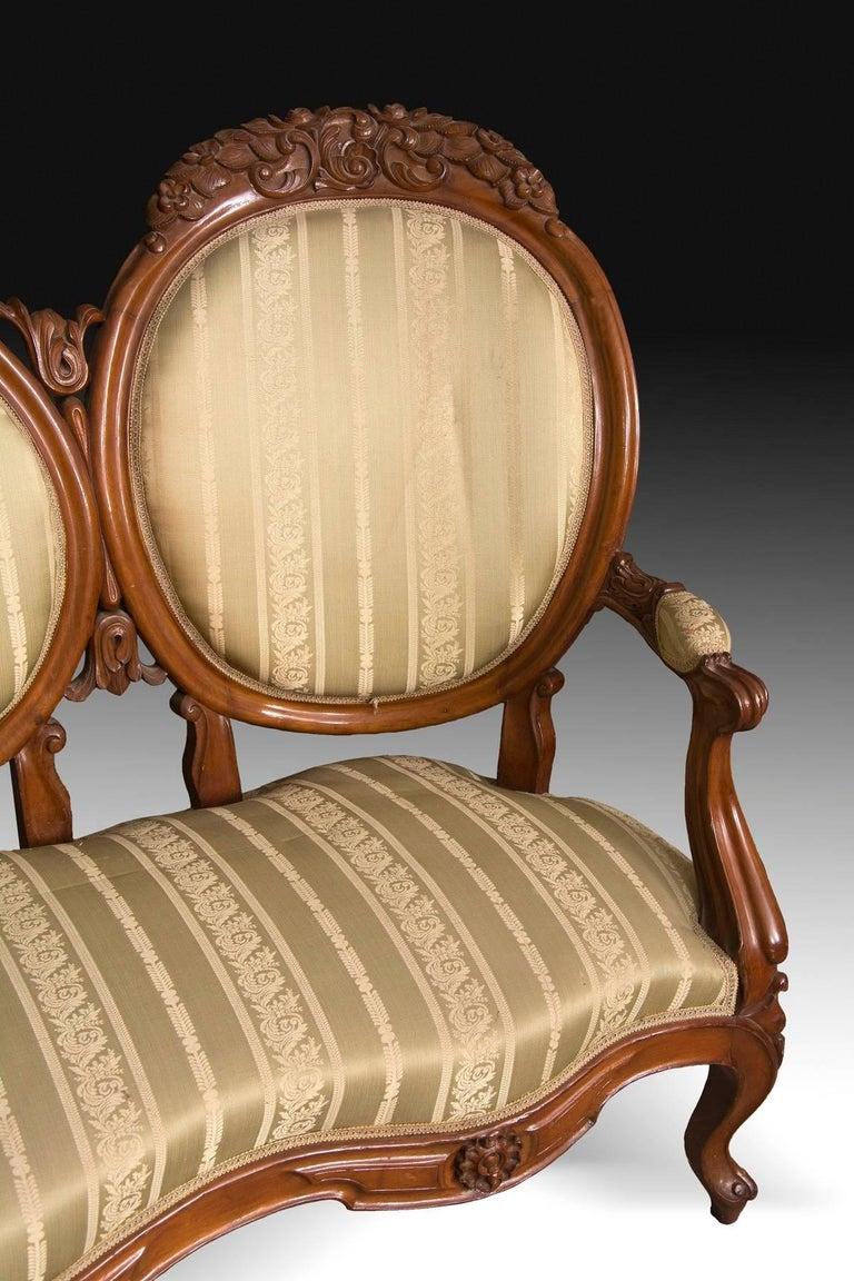 Mahogany Set, Elisabeth II Style, Spain, 19th Century For Sale 3
