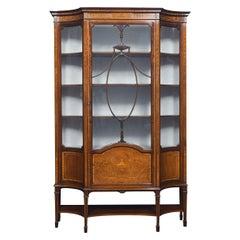 Mahogany Sheraton Revival Inlaid Display Cabinet