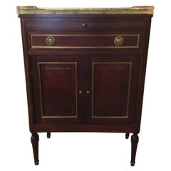 Mahogany Side Cabinet, 19th Century White and Gray Marble with Desk Pull Out