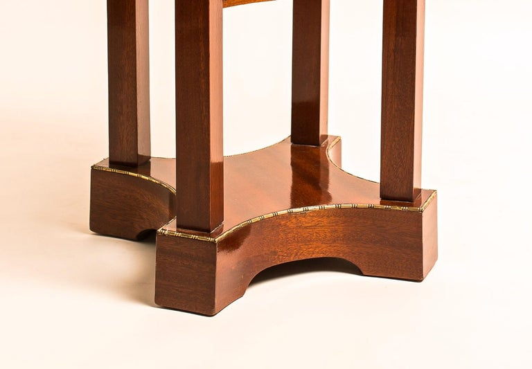 Austrian Mahogany Side Table with Inlayed Cast Brass Edges Art Nouveau, Austria For Sale