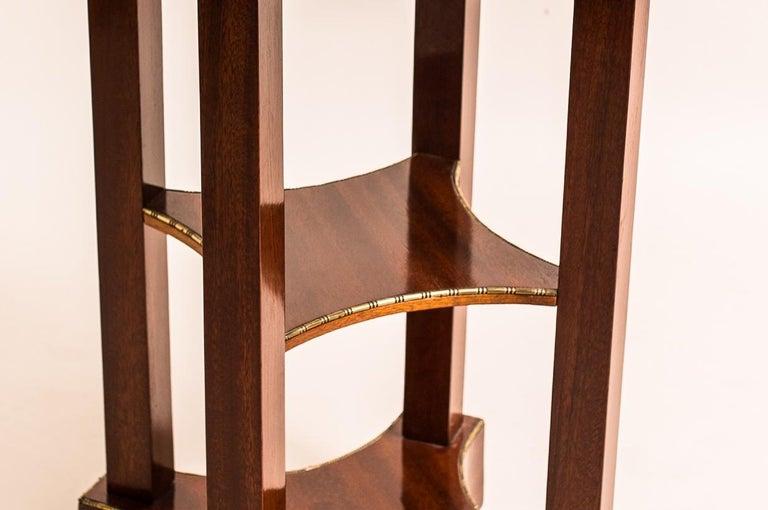 Appliqué Mahogany Side Table with Inlayed Cast Brass Edges Art Nouveau, Austria For Sale