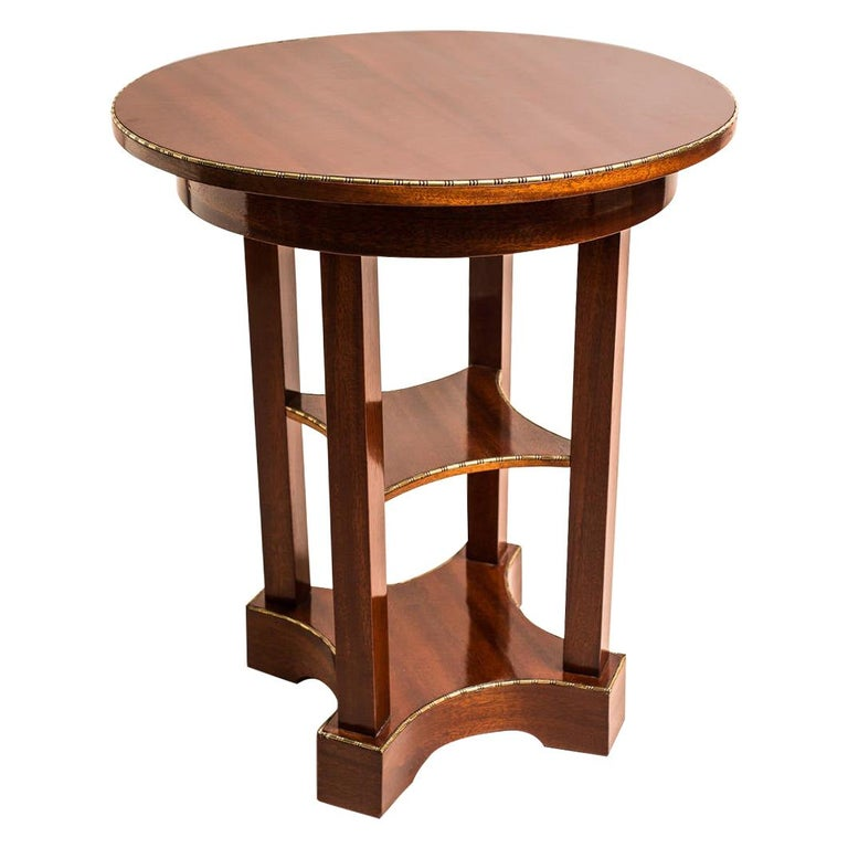 Mahogany Side Table with Inlayed Cast Brass Edges Art Nouveau, Austria For Sale