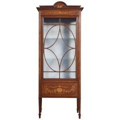 Mahogany Single Door Inlaid Display Cabinet