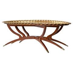 Mahogany Spider Leg Base Boho Moroccan Style Brass Tray Coffee Table