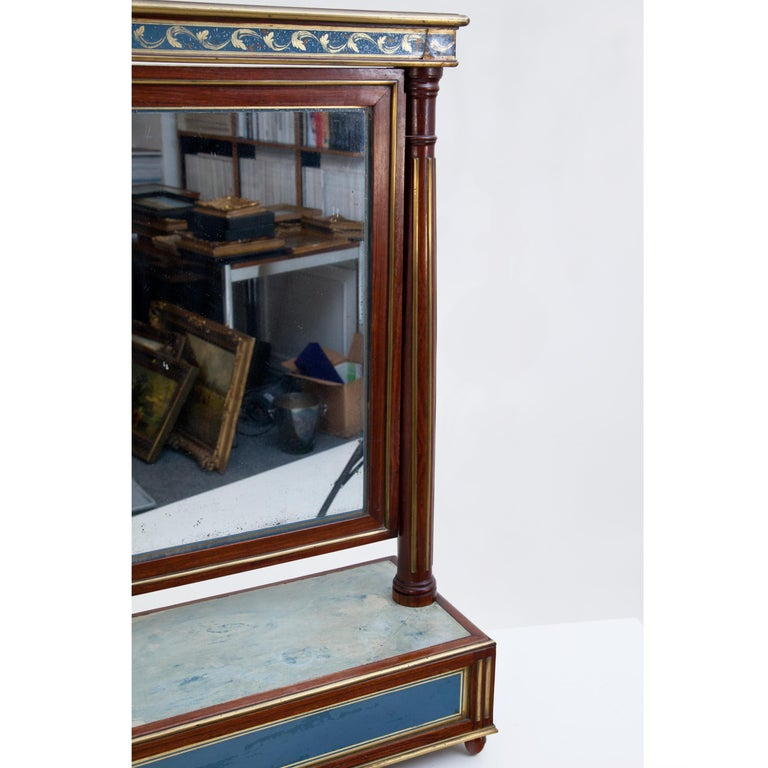 Early 19th Century Mahogany Table Mirror with Verre Églomisé Inlays, St. Petersburg, circa 1800 For Sale