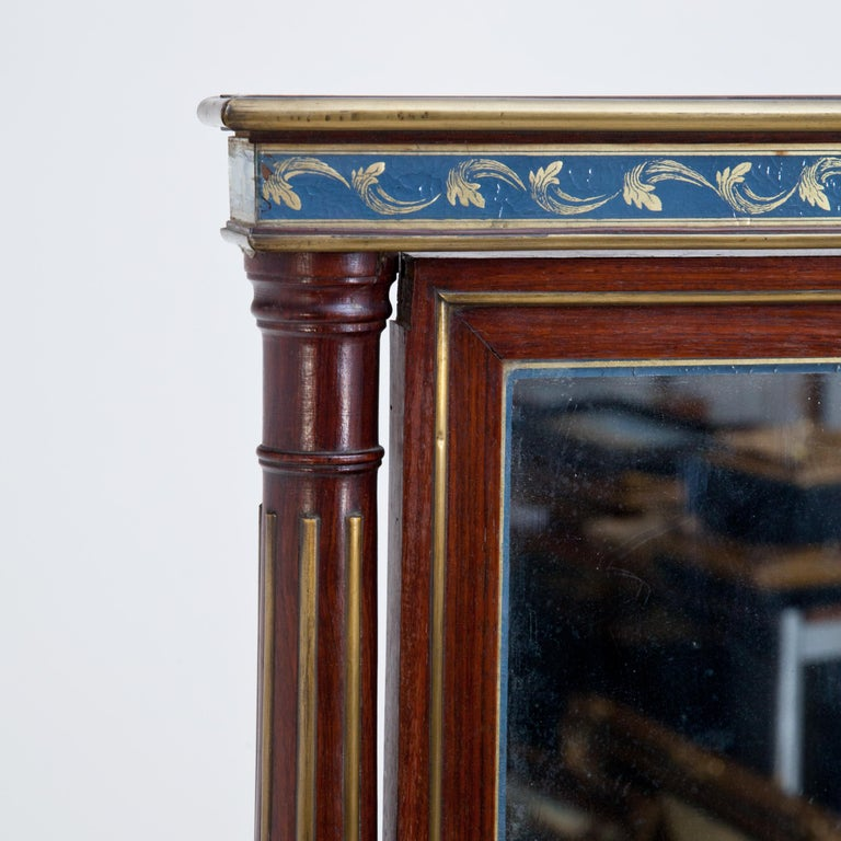 Glass Mahogany Table Mirror with Verre Églomisé Inlays, St. Petersburg, circa 1800 For Sale