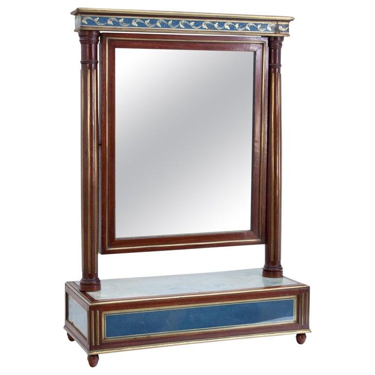 Mahogany Table Mirror with Verre Églomisé Inlays, St. Petersburg, circa 1800 For Sale