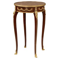 Mahogany Table with Marble Top Attributed to François Linke, French, circa 1890