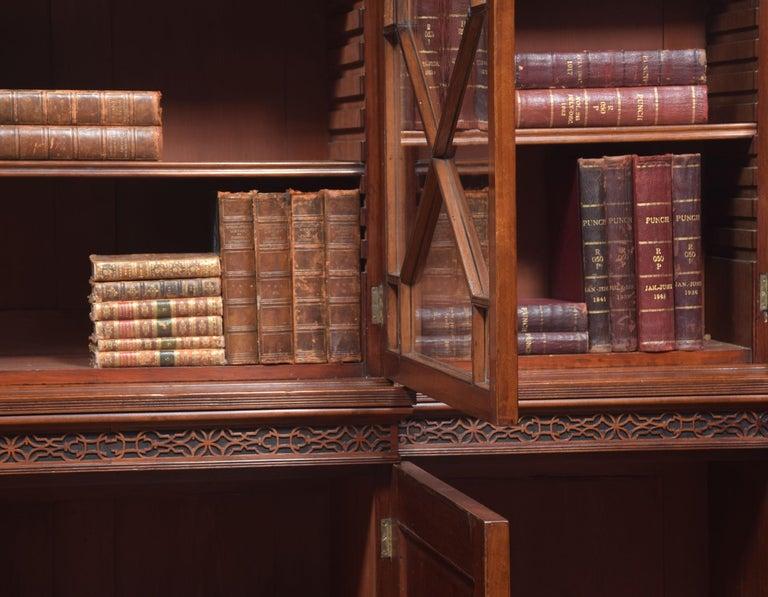 Mahogany Three-Door Breakfront Library Bookcase For Sale 5