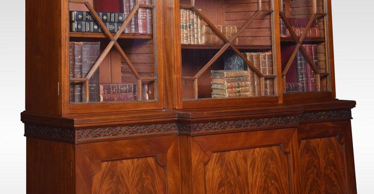 Mahogany Three-Door Breakfront Library Bookcase For Sale 6
