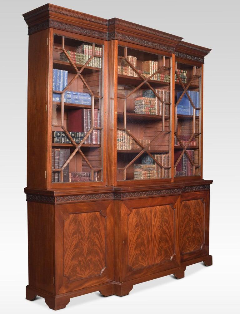 British Mahogany Three-Door Breakfront Library Bookcase For Sale