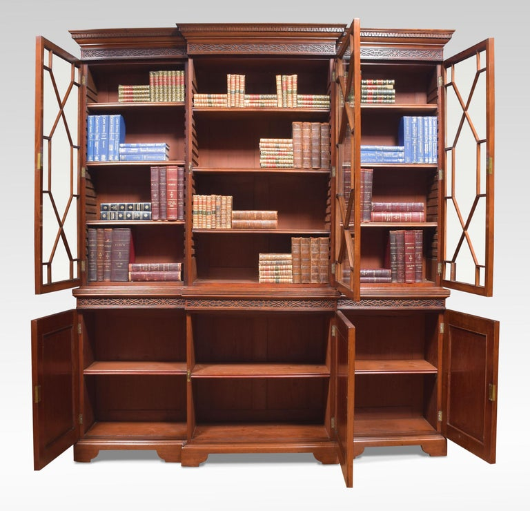 Mahogany Three-Door Breakfront Library Bookcase In Good Condition For Sale In Cheshire, GB