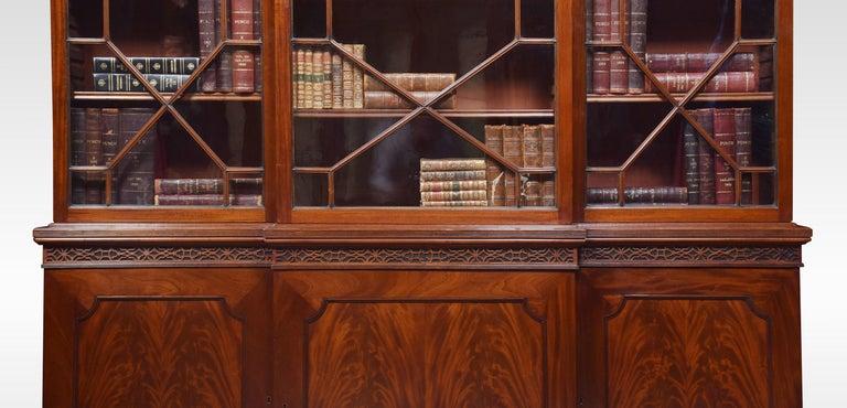 19th Century Mahogany Three-Door Breakfront Library Bookcase For Sale