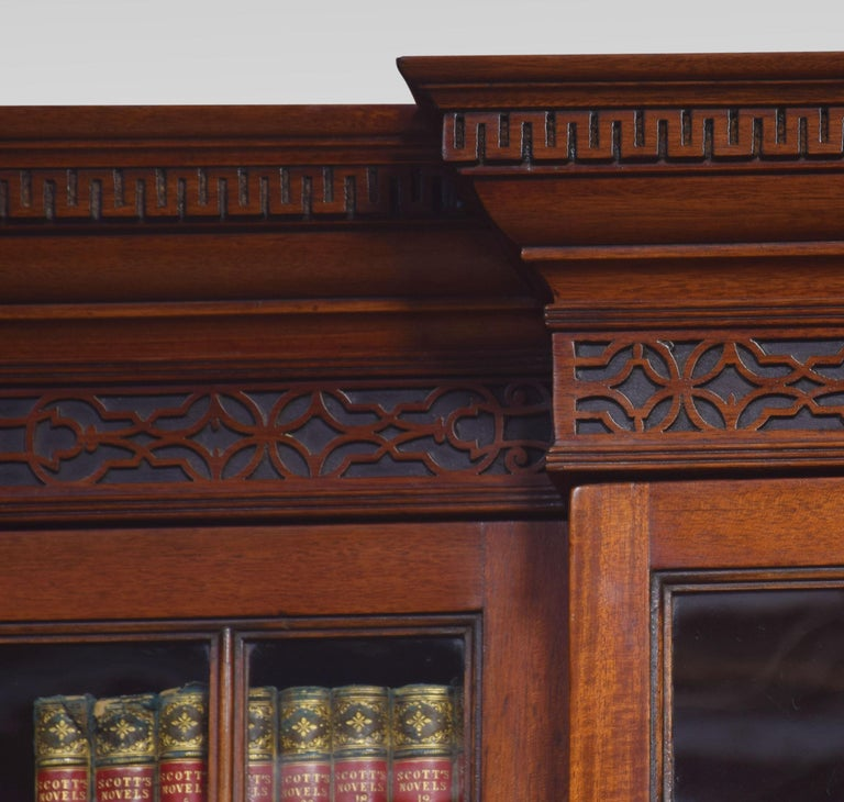 Mahogany Three-Door Breakfront Library Bookcase For Sale 2