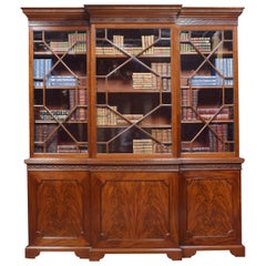 Mahogany Three-Door Breakfront Library Bookcase