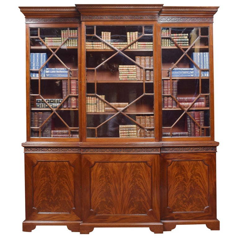 Mahogany Three-Door Breakfront Library Bookcase For Sale