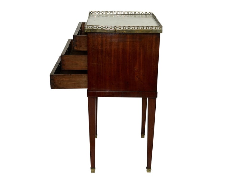 Mahogany Three Drawer Side Table with Marble Top, French 19th Century In Good Condition For Sale In San Francisco, CA